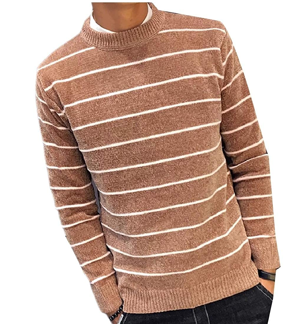 YUNY Men Loose-Fit Crew-Neck Blouse Striped Knit Pullover Sweater Apricot XL