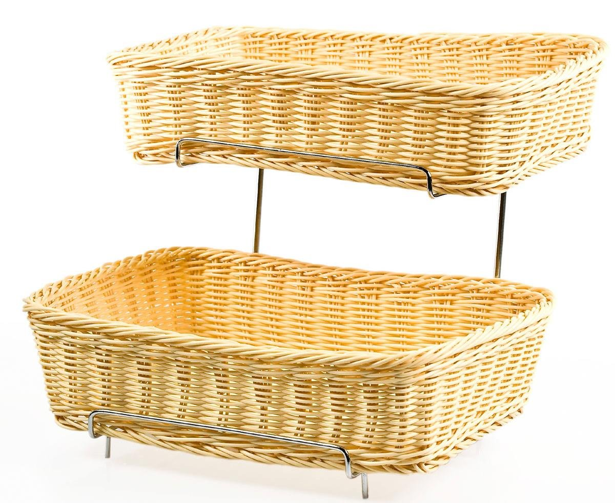 Set of 2 - Two-tier Rack for Counters with 2 Plastic Wicker Baskets; 4 Baskets Total