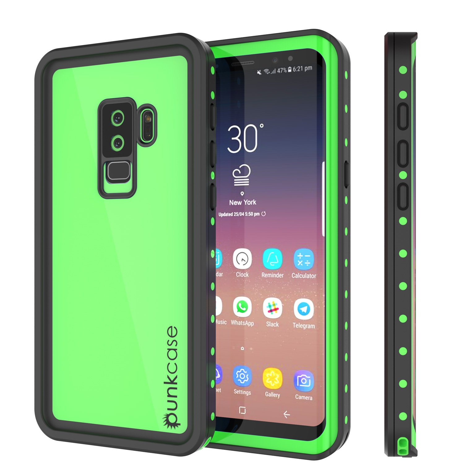 Galaxy S9 Plus Waterproof Case, Punkcase [StudStar Series] [Slim Fit] [IP68 Certified] [Shockproof] [Dirtproof] [Snowproof] Armor Cover for Samsung Galaxy S9+ [Light Green]