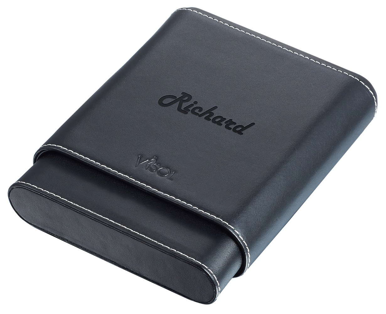 Personalized Visol Cuero Genuine Black Leather 56-Gauge 5-Finger Cigar Case - With Free Engraving