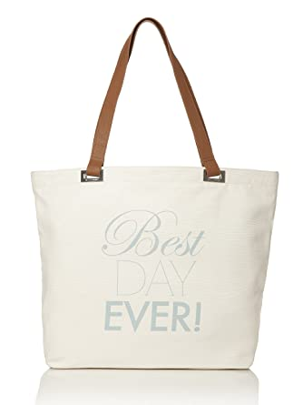 Amazon.com | Best Day Ever Tote Bag by Dessy - Ivory | Travel Totes