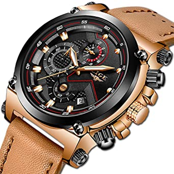 8a54116bf Image Unavailable. Image not available for. Color: LIGE Men's Fashion Sport  Quartz Watch with Brown Leather Strap Chronograph Waterproof Auto Date  Analog ...