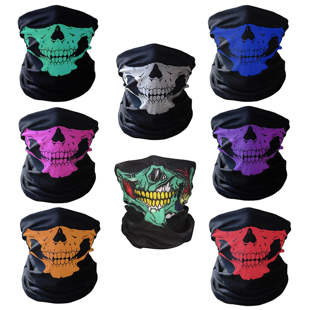 CIKIShield Skull Face Mask Neck Gaiter Seamless Scarf Bandanas Black