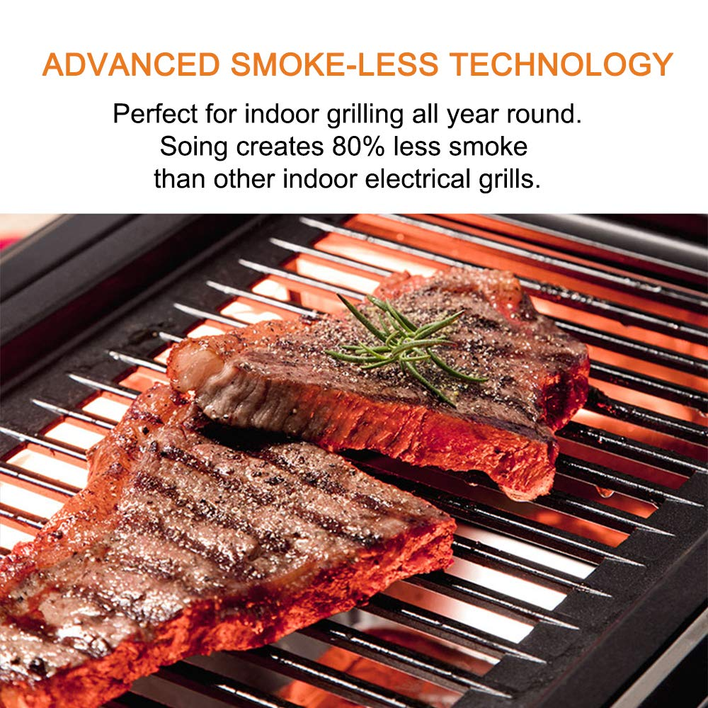 Soing Indoor Smoke-less Grilll, Heating Electric Tabletop Grill, Non-Stick Easy to Clean BBQ Grill, for Party Home, ETL Certified Indoor Grill