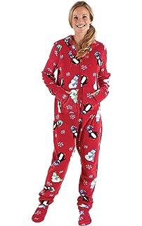 ba469333e9 Amazon.com  PajamaGram Hoodie-Footie Nordic Fleece Women s Onesie ...