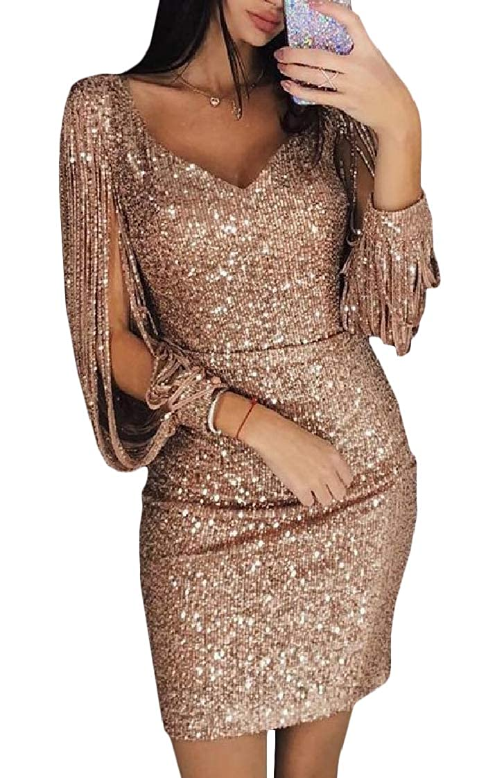 golden PandapangCA Women Fashion Clubwear Sequins Party VNeck Fringe Sparkle Cocktail Dresses