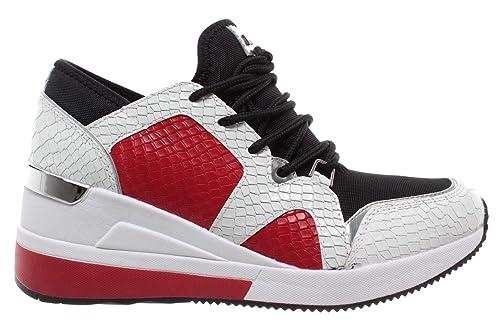 43r9lvfs1e Trainer Sneaker Chaussures Femmes Blanc Liv Rouge Michael Kors Noir JlcT3FK1