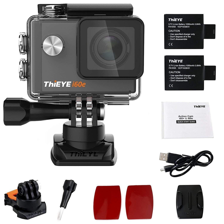 ThiEYE Original i60e 4k WiFi Action Cam Full HD Action Kamera 12MP 1080P 60fps Sport Videokamera 2 Zoll Sceen 60M wasserdicht 170 Weitwinkel für Fahrrad Motorrad Helm mit 2 Batterien Fi60EBEN-1