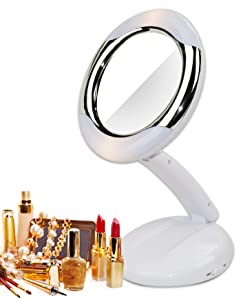 Modern Mirror 2K235 Foldable Lighted bathroom mirror makeup mirror White
