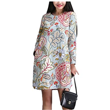 WalterTi cotton linen vintage print loose dress party vestidos femininas dresses NEW
