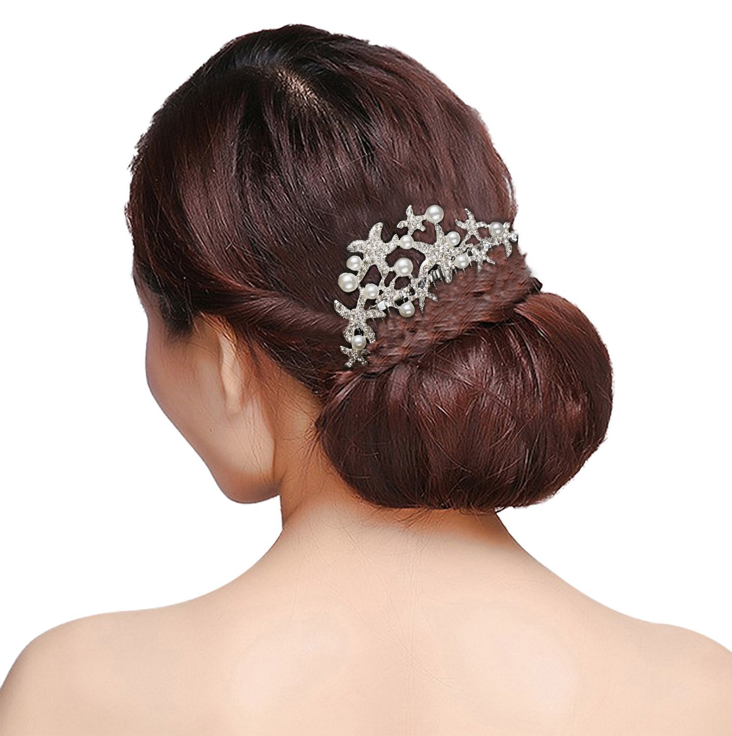 Lovful Womens Silver Starfish Hair Comb with Imitation Pearls Bridal Bridesmaid Wedding Crystal Hairpiece Accessory, Silver_2