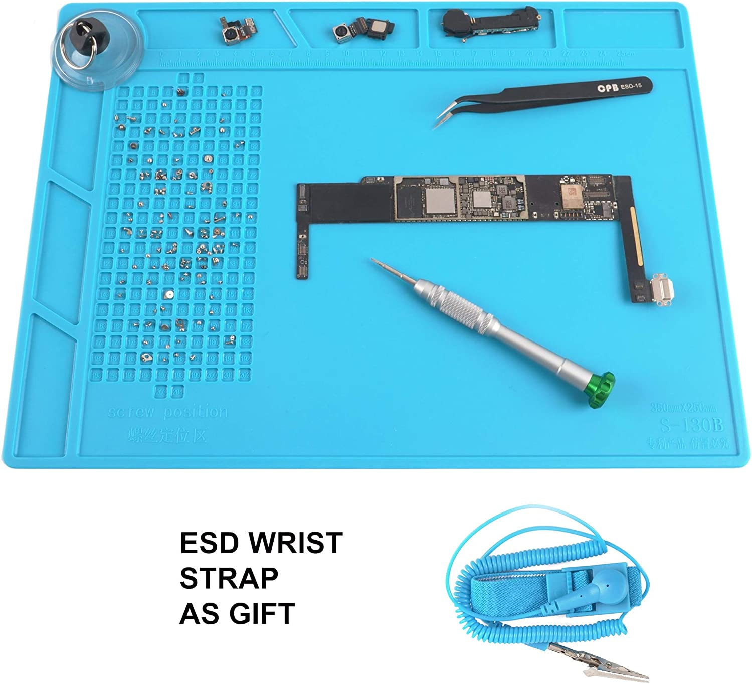CPB Soldering Anti Static Electronics Repair None Magnetic Mat for Screw Silicone Work Mat with ESD Wrist Strap Compatible with Iphone Ipad Macbook Laptop Computer Soldering Iron Size:13.7 x 9.8 inch