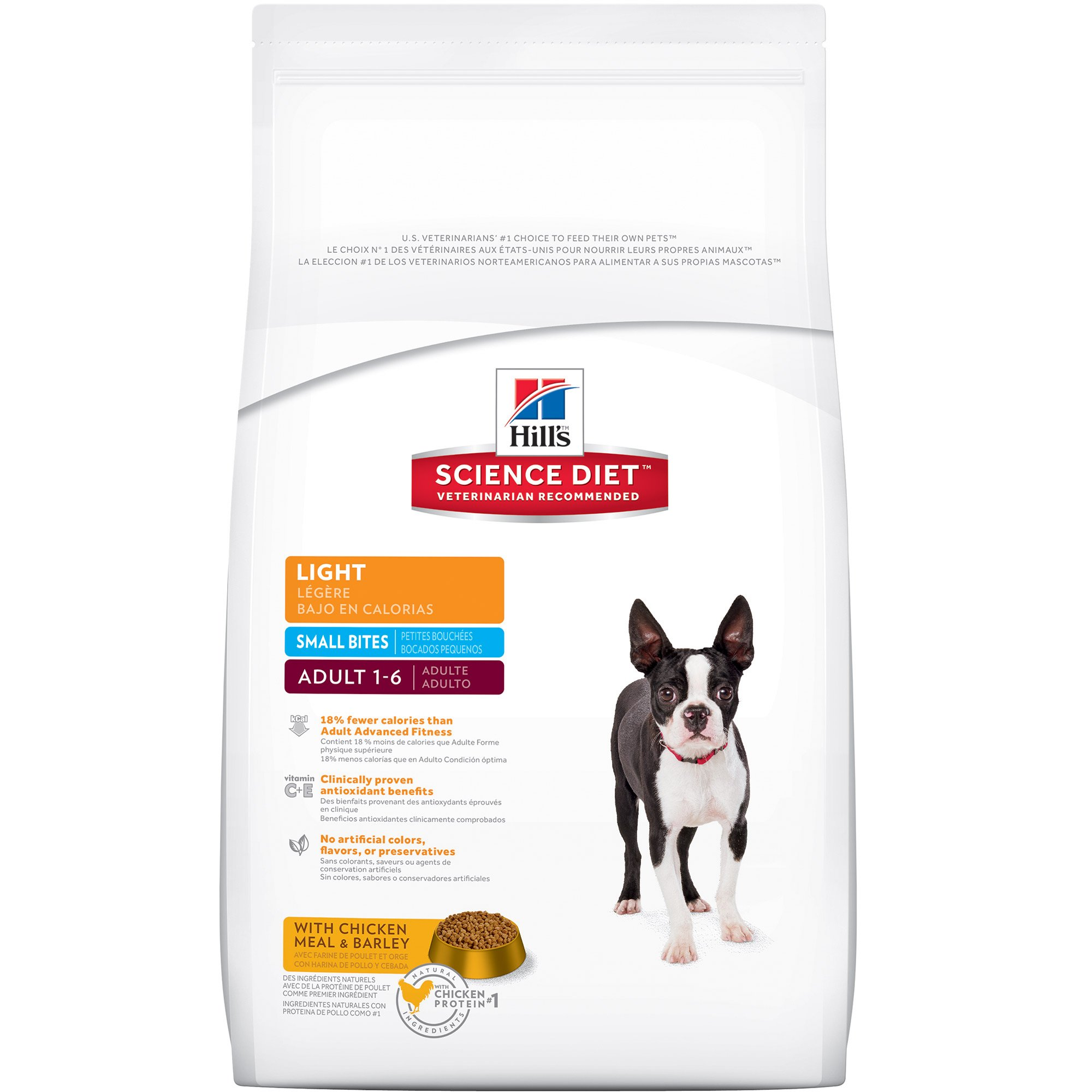 Hill's Science Diet Adult Light Dog Food, Small Bites with Chicken Meal & Barley for weight management, Dry Dog Food, 5 lb Bag
