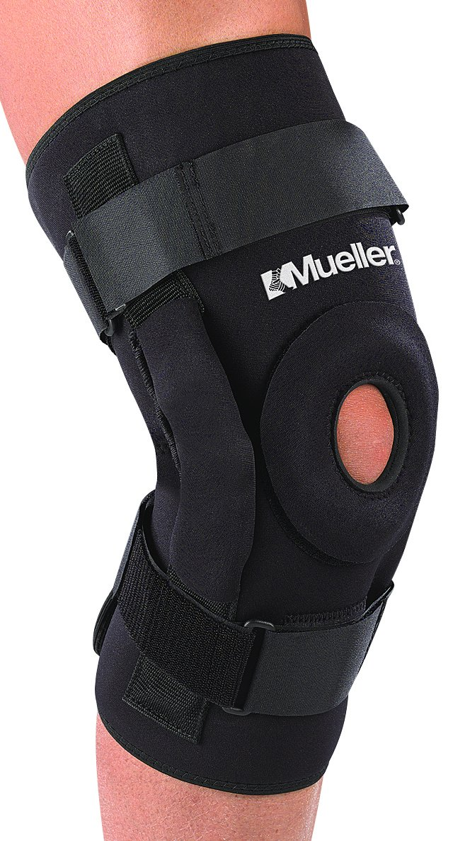 Mueller Hinged Knee Brace, Deluxe, Black, Large