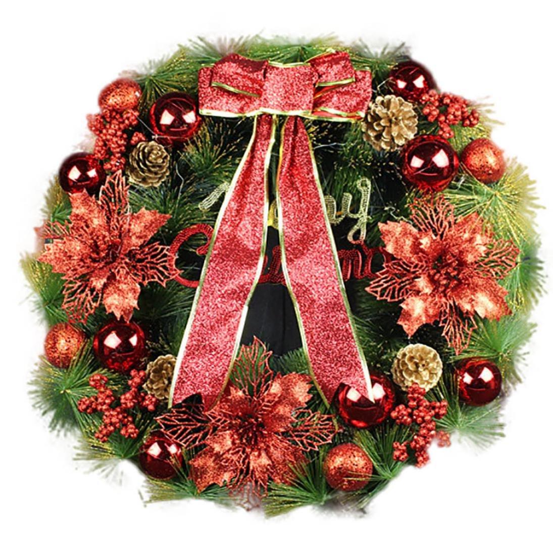 Kanzd Merry Christmas Large Wreath Red Bowknot Garland Door Wreath Door Wall Ornament Decor (A)