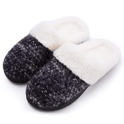 Amazon.com | DL Fluffy-Womens-Slippers-Indoo-Outdoor, Furry Slip-on Women's House Slippers Memory Foam, Arch Support Bedroom Slippers for Women Non Slip Outsole | Slippers