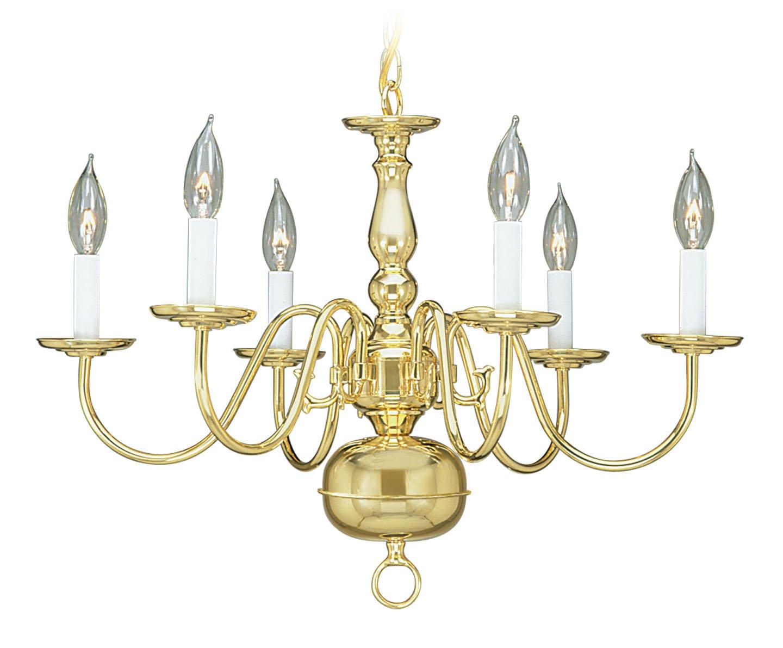 Polished Brass Livex Lighting 5006-03 Williamsburg 6-Light Chandelier, White