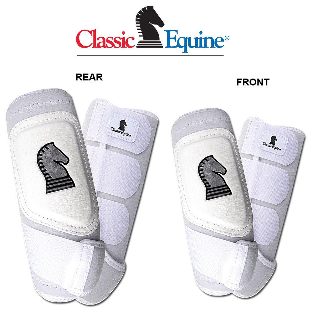 4パッククラシックEquineクロスフィットHorse Leg Boot前面背面Hindホワイト – L   B073HLQ4NJ
