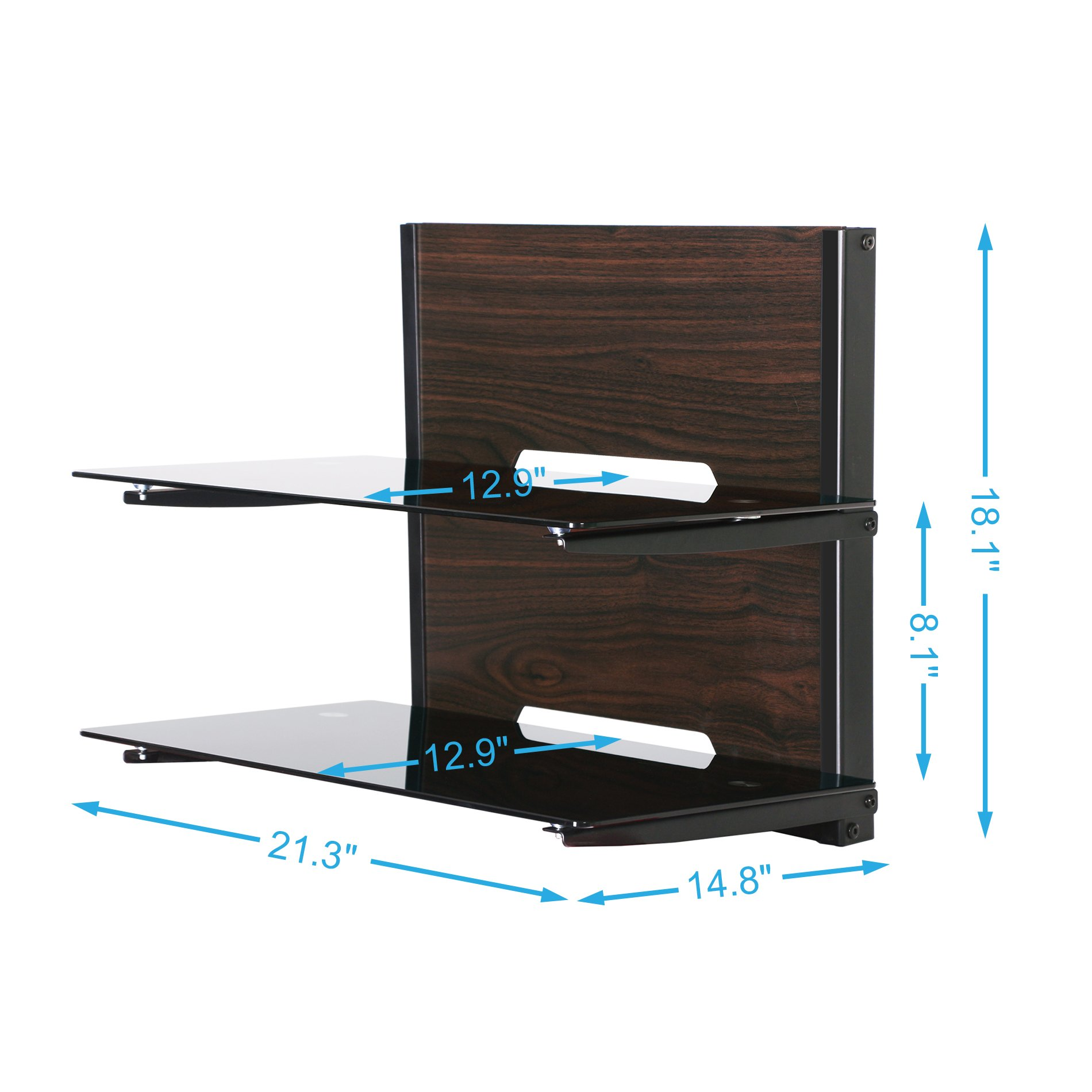 Fenge Fitueyes 2 Tier Wood Av Shelf Component Wall Mount with Tempered Glass Shelf for Dvd/xbox One/ps4/tv Component DS205401GB by Fenge (Image #3)