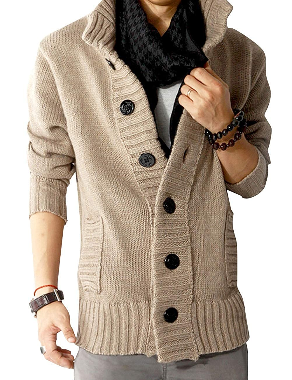 Super frist Mens Casual Stand Collar Cable Knitted Button Down Cardigan Sweater