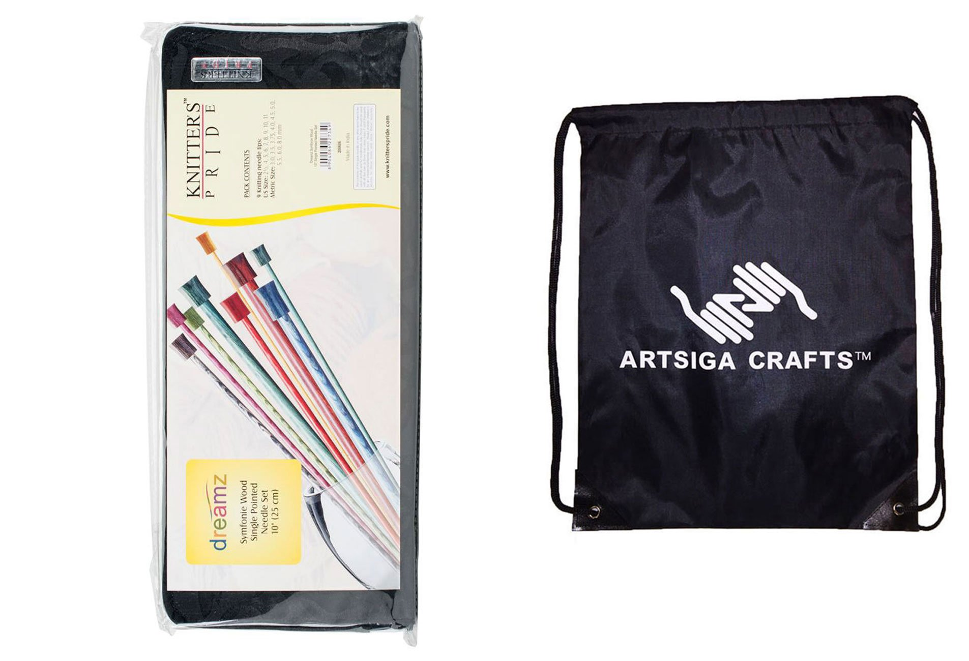 Knitter's Pride Knitting Needles Dreamz Single Pointed 10 inch (25cm) Set 2 of 9 Sizes Bundle with 1 Artsiga Crafts Project Bag 200606