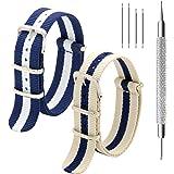 Cinturino da Orologio NATO Pacchetto di 2 18mm 20mm 22mm Premio Balistico Cinturino Orologio con Acciaio Inossidabile Fibbia Bar Tool e 4 Spring Bars
