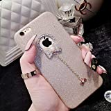 Iphone 6 plus case,I-Fashion 3D Cute Bling Glitter Rubber Case with Sparkly Crystal Rhinestones bow knot pearls pendant Charms for iphone 6/6s plus Champagne Gold