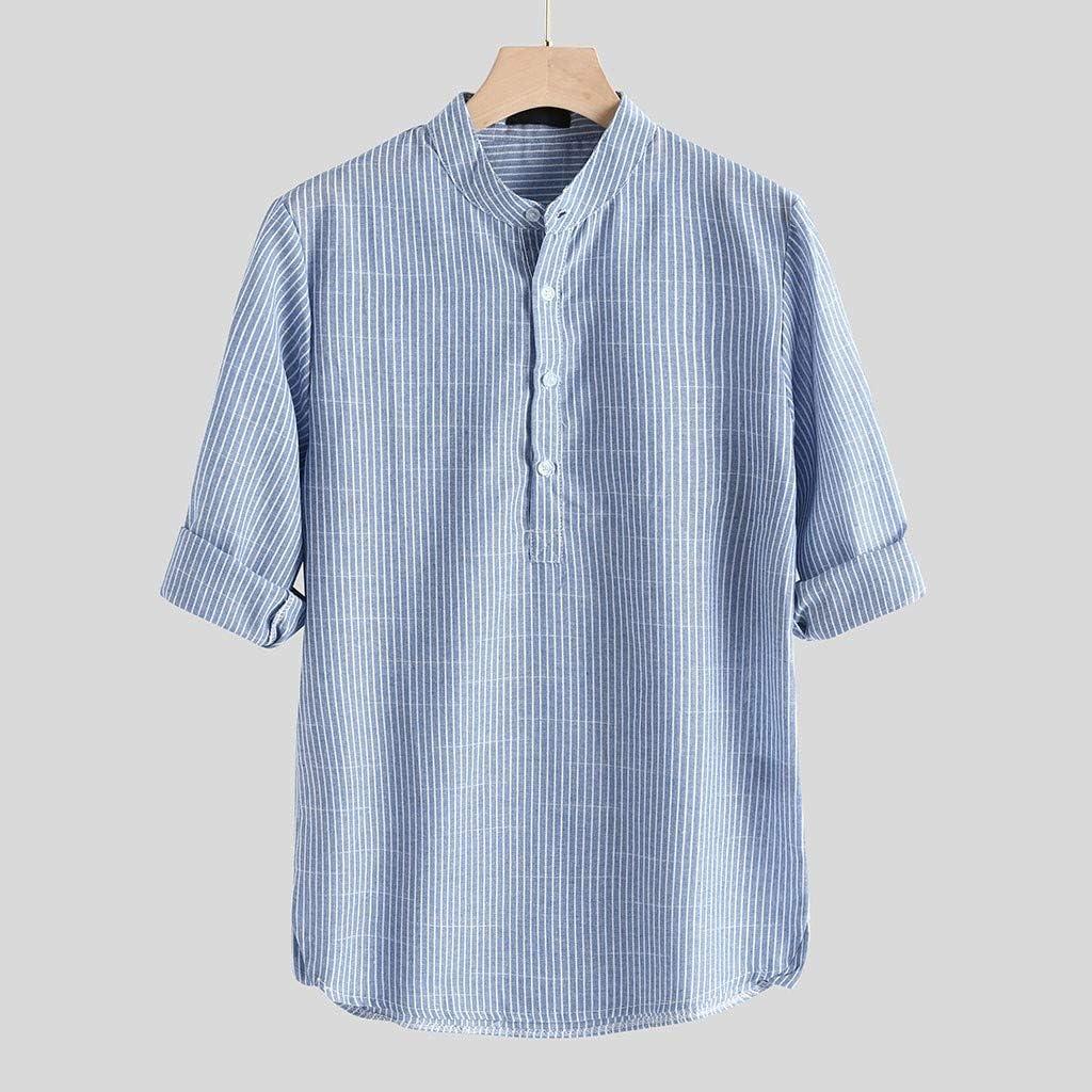 Camisa a Rayas para Hombre Promoción Moda Manga Larga Cuello ...