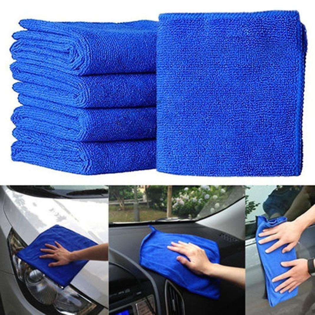 Rucan 5Pcs Blue Soft Absorbent Wash Cloth Car Auto Care Microfiber Cleaning Towels