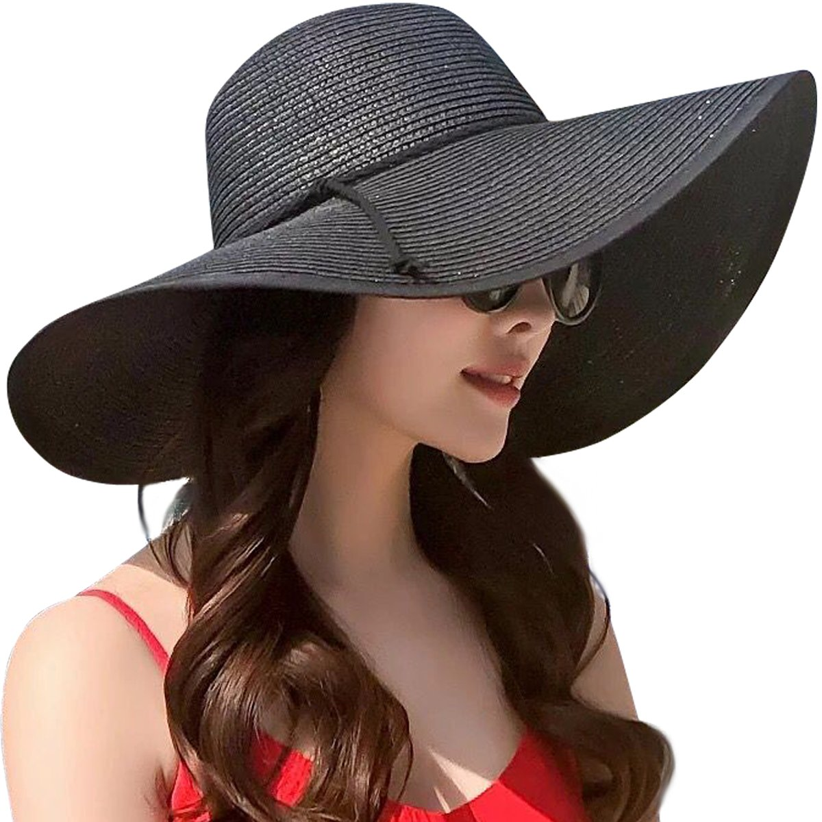 Lanzom Womens Wide Brim Straw Hat Floppy Foldable Roll up Cap Beach Sun Hat UPF 50+ (Style B-Black) by Lanzom