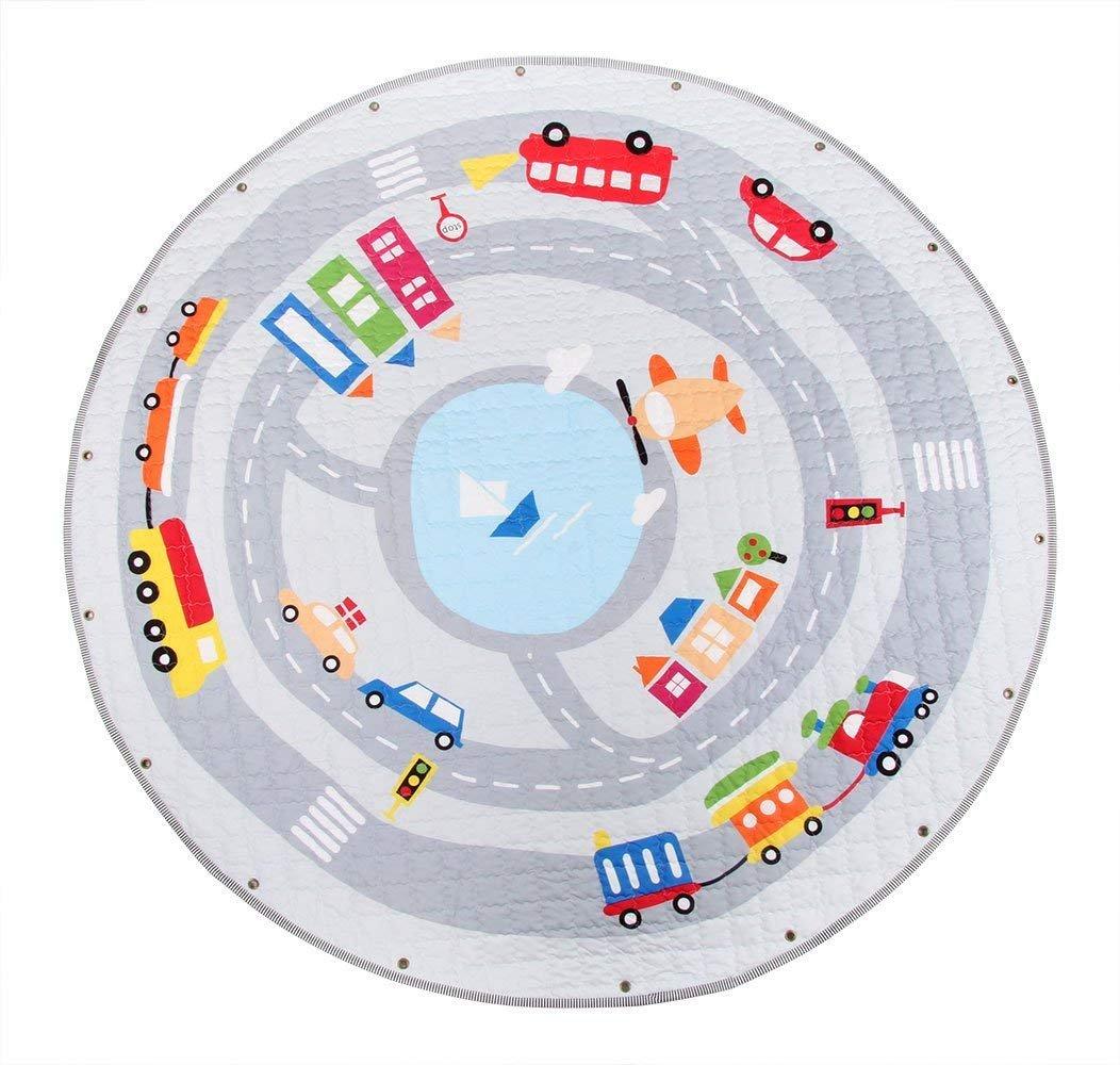 Kinder Aufräumsack Spielmatte Spielzeugteppich, große Baumwolle Anti Rutsch Cartoon Tier Kinder Stock Spiel Mat mit Kordelzug für Kinderzimmer - 150cm (Bär) feierna