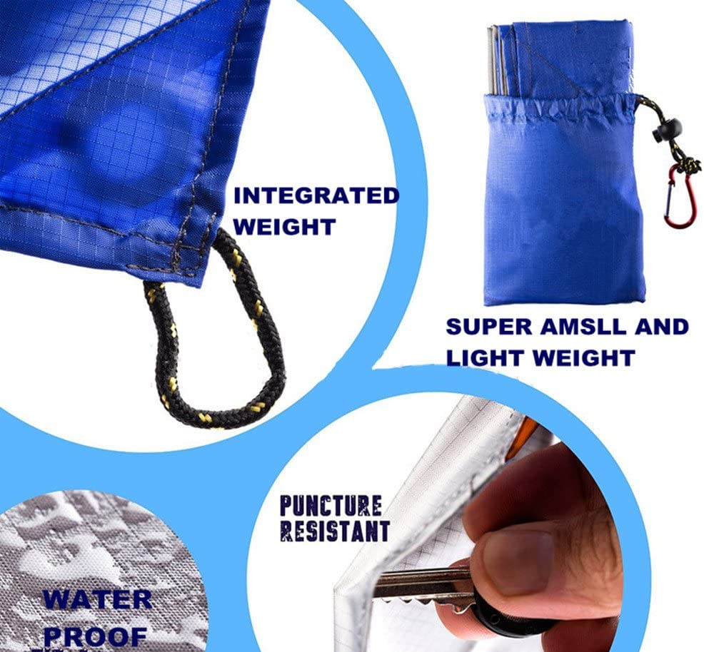 SEALEN picnics Azul Impermeable Ultraligera Camping compacta Ideal para la Playa Equipo Esencial 150 x 147 cm Manta de Bolsillo para Picnic port/átil Viajes Senderismo