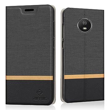 RIFFUE Funda Moto G5s, Carcasa Delgada Libro de Cuero con Tapa Cartera de Ranura y Billetera Elegante Case Cover para Motorola Moto G5s - Negro