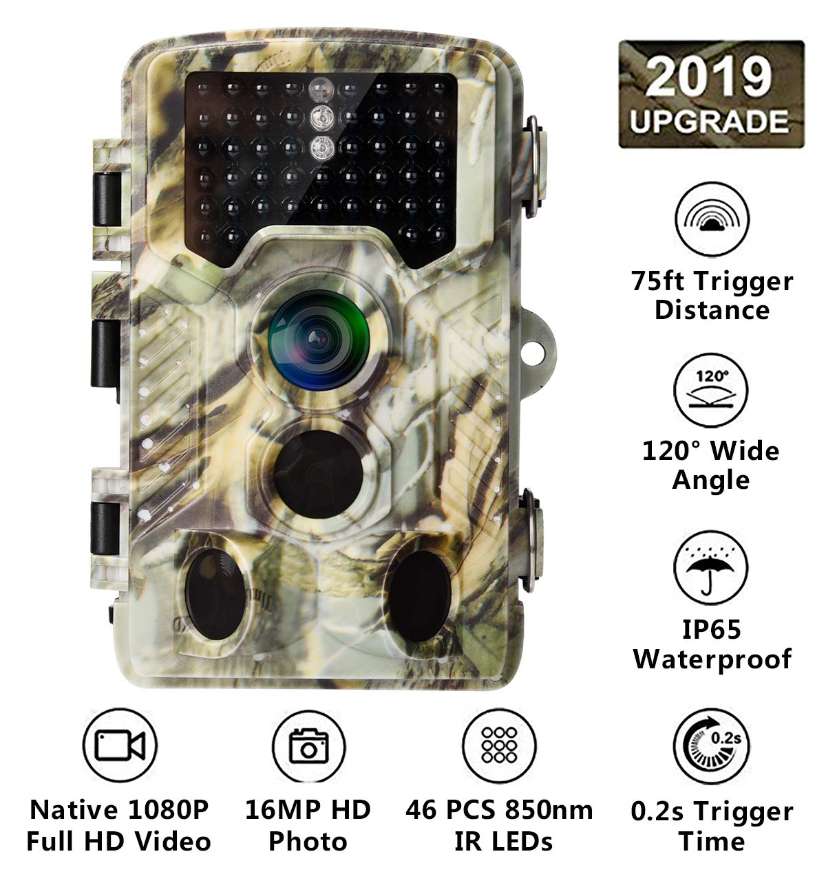 AlfaView Trail Camera 16MP 1080P HD Game Hunting Camera with 120 Wide Angle Lens Low Glow Night Vision Up to 75ft 0.2s Trigger Time Motion Activated Waterproof Wildlife Hunting Camera