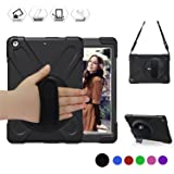 BRAECN New iPad 2017 Case, Three Layer Heavy Duty Soft Silicone Hard Bumper Case Built-in Stand+Hand Strap+Shoulder Strap Shockproof Durable Rugged Case for iPad 9.7 inch(5th Generation)2017 Released