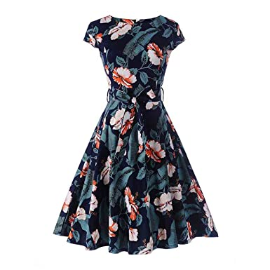 Summer Women Print Floral Midi Tunic Rockabilly Vestido De Festa Hot Swing Dress A Line Party