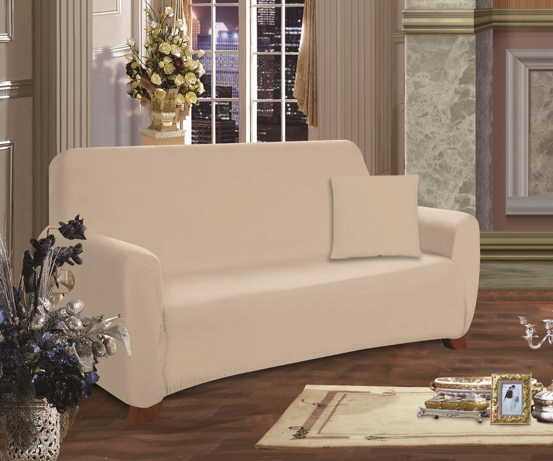 Elegant Comfort Furniture Jersey Stretch Slip-Cover, Sofa Linen-Cream