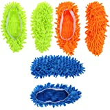 ROSENICE 3 Pairs Microfiber Dust Mop Slippers Multi-Function Floor Cleaning Shoe Covers Dust Hair Cleaner Foot Socks Mop Caps