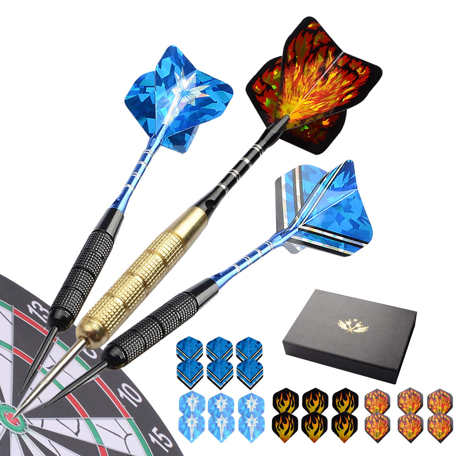 Migargle 12 Pack Steel Tip Darts Set 20 Grams with Nonslip Iron Barrel + Aluminum Dart Shafts + 4 Style Flights + Darts Sharpener + Darts Tool and Case