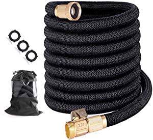 "Garden Hose 25 ft Expandable garden hose with Triple Layer Latex Core, 3/4"" Solid Brass Fittings, 3750D Extra Strength Fabric For All Your Watering Need"