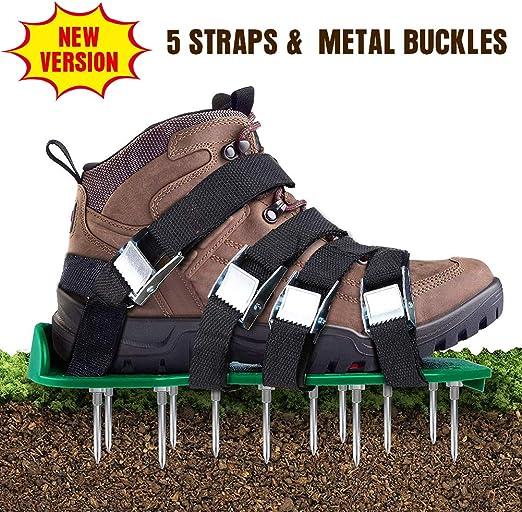 Aireador de césped de Aunus, escarificador de césped con 5 correas ajustables y metal, tamaño universal para zapatos o botas para césped: Amazon.es: Jardín