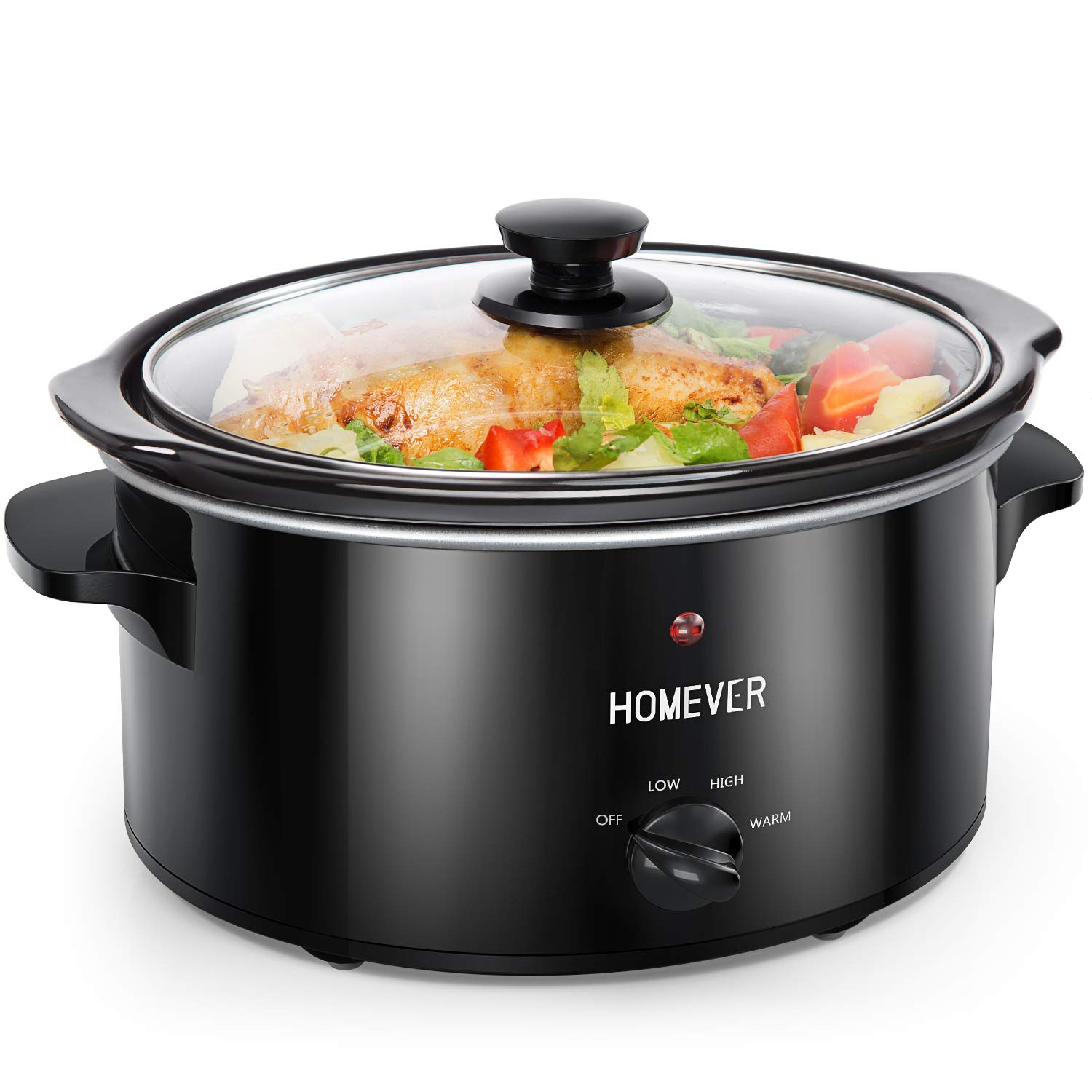 Homever Slow Cooker,3.5-Quart Manual Slow Pot with Standard Lid,Multi-Cooker with Removable Ceramic Cooking Crock,3 Adjustable Temp Settings (High/Low/Warm), Cooking for Vegetables,Beef,Cake,etc.