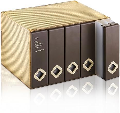 Caja de almacenamiento para CDs y DVDs de AhfuLife®, con colorido diseño, para ahorrar espacio marrón marrón 120 CDs: Amazon.es: Electrónica