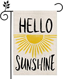 CROWNED BEAUTY Summer Garden Flag Hello Sunshine 12×18 Inch Double Sided Vertical Yard Outdoor Decoration CF170-12