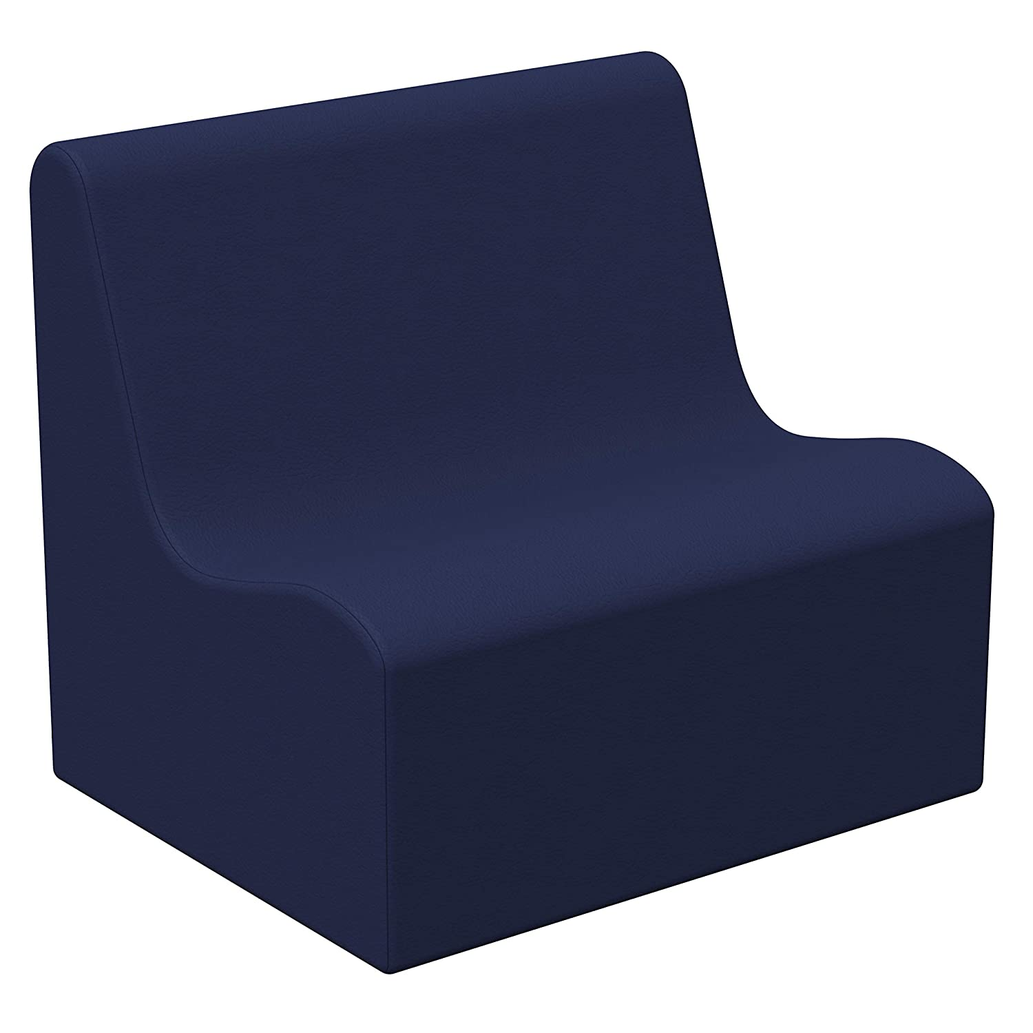 FDP SoftScape Wave Preschool Sofa Seating, Play Soft Supportive Foam Furniture for Kids for Bedrooms, Playrooms, Classrooms - Navy