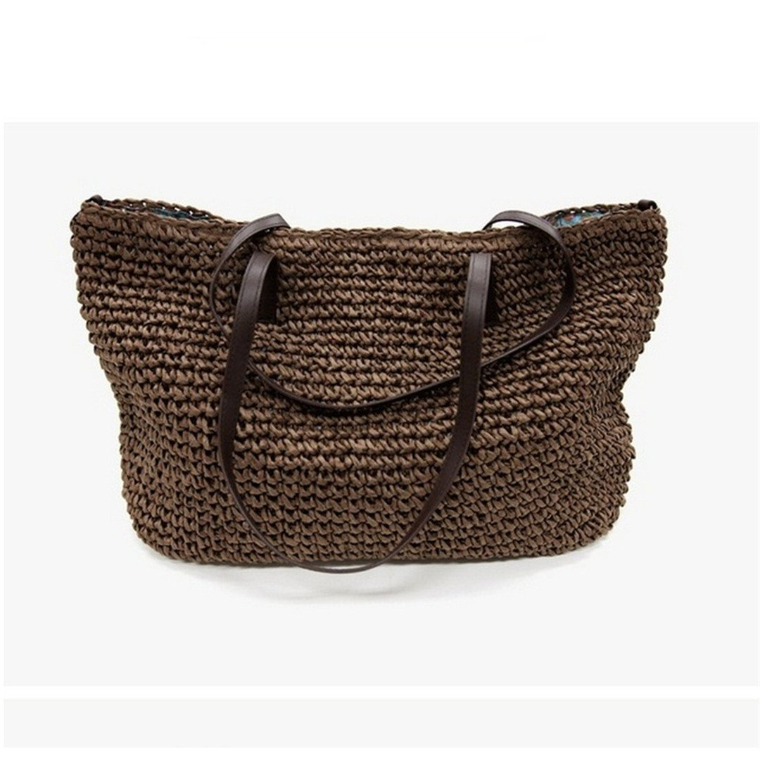 Summer Women Durable Weave Straw Beach Bag Feminine Linen Woven Bucket Bag Grass Casual Tote Handbags Knitting Rattan Bags Hobos dark coffee