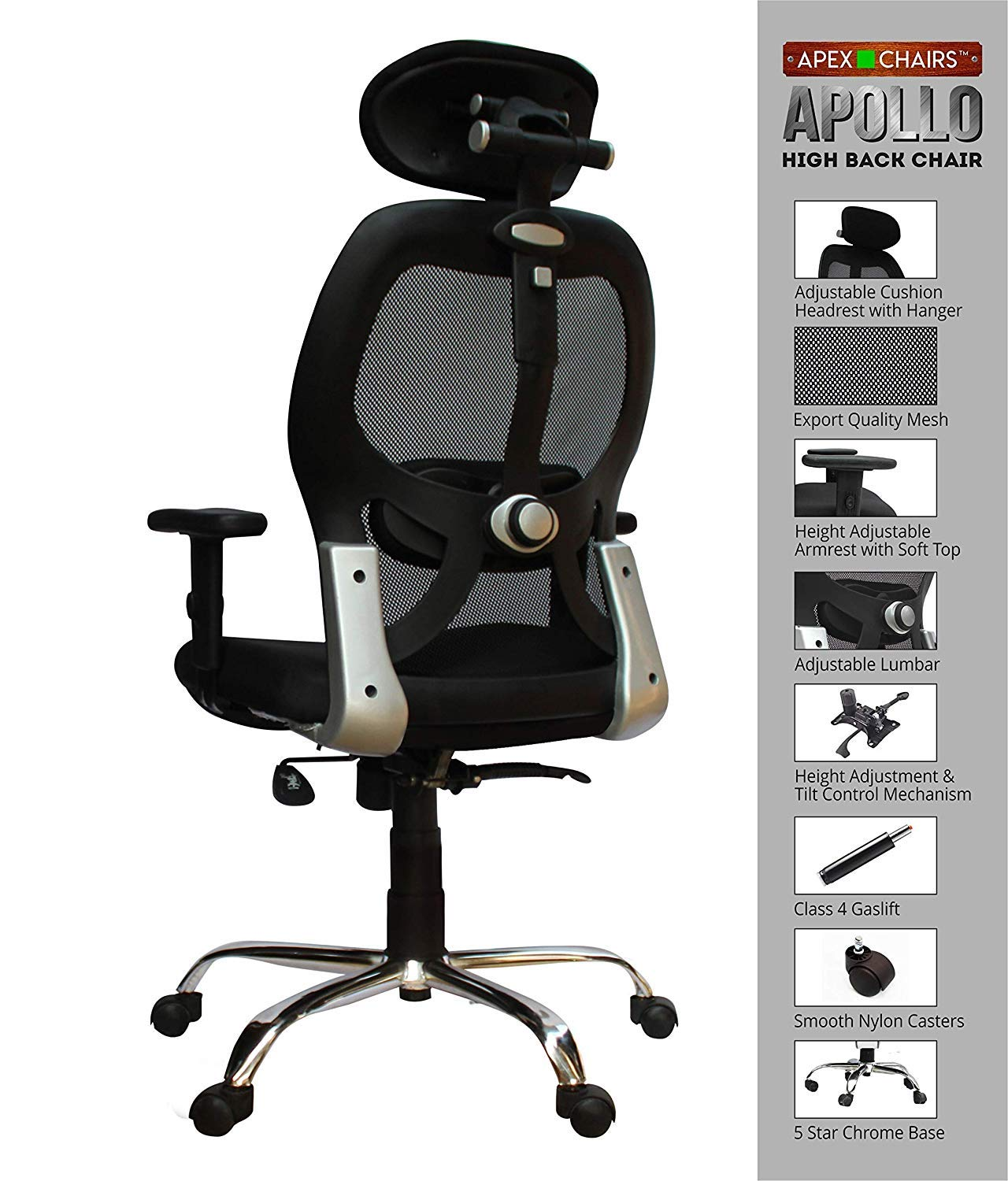 Apex Chairs Apollo Chrome Base High Back Office Chair Adjustable Arms By Savya Home Buy Online In Faroe Islands At Faroe Desertcart Com Productid 69455780