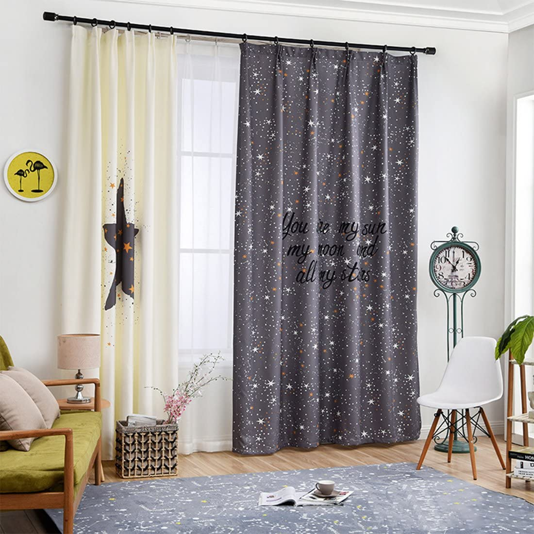 Gwell Childrens Room Curtains Star Design Eyelet Curtain Decorative Curtain for Living Room Bedroom Pack of 1 245x140 HxB St/ück x1 Linker Schal Nur