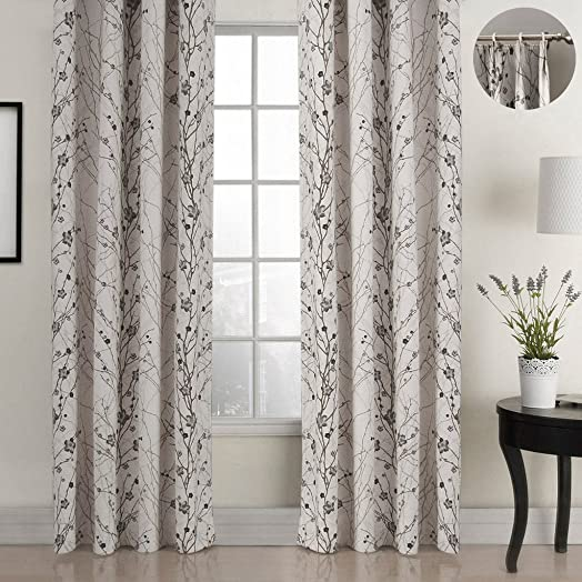 ChadMade Country Style Plum Blossom Polyester 120Wx96L Inch 1 Panel Blackout Lined Curtain Drape Pinch Pleat SOFITEL Collection