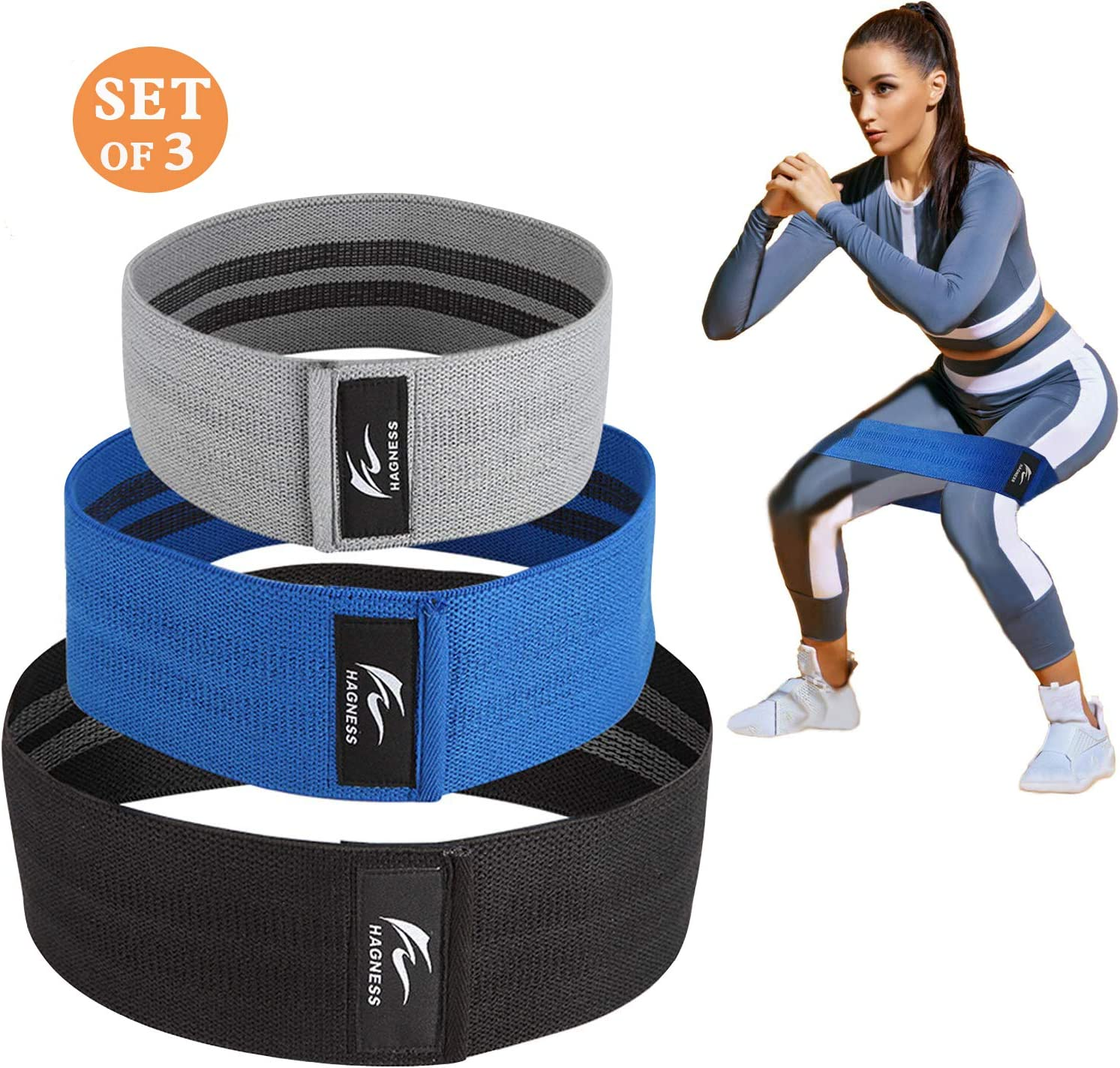 HAGNESS Booty Bands for Legs and Butt Hip Bands Resistance Bands Workout Bands Fitness Bands Fabric Soft and Non-Slip Design Glute Stretch Resistance ...